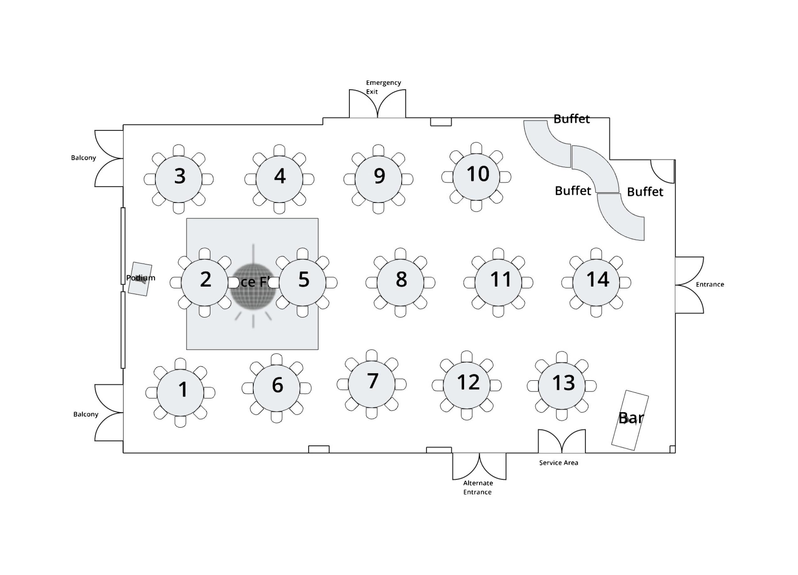 Antler Room Banquet Buffet Layout